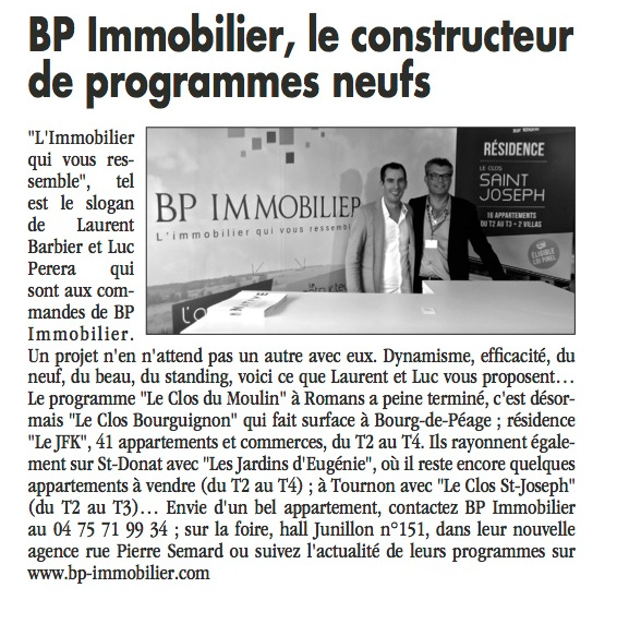 Article de presse Bp Immobilier